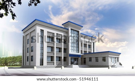 3d construction of office building. Concept - modern city, modern architecture and designing - stock photo