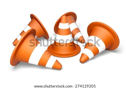 3D. Construction Site, Traffic Cone, Safety. - stock photo