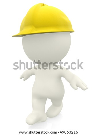 3D construction worker with a helmet isolated over a white background - stock photo