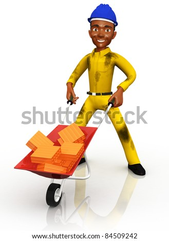 3D construction worker with a wheelbarrow - isolated over white