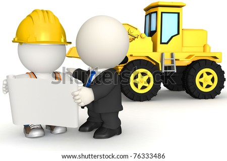 3D construction worker with an engineer looking at blueprints- isolated - stock photo