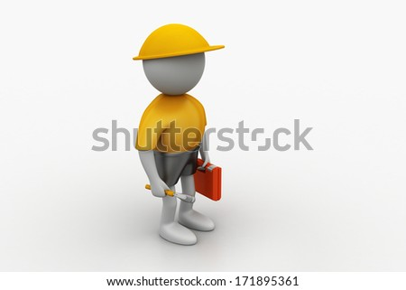 3D construction worker with spanner and safety helmet