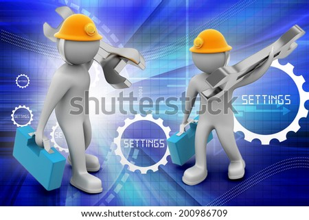 3D construction worker with spanner and safety helmet - stock photo