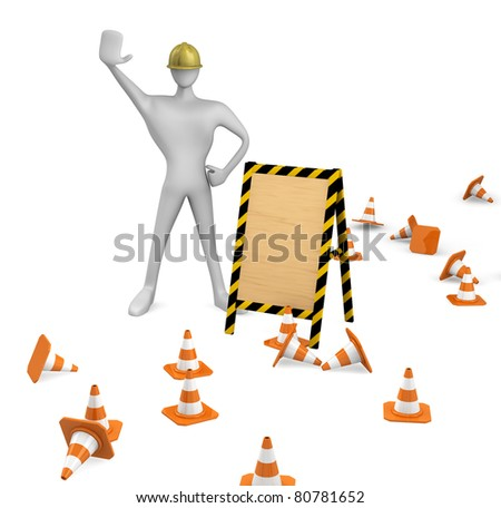 3d construction worker with traffic cones and empty board - stock photo