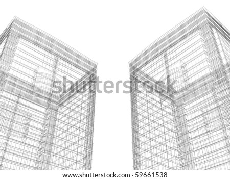 3D constructions towers - stock photo