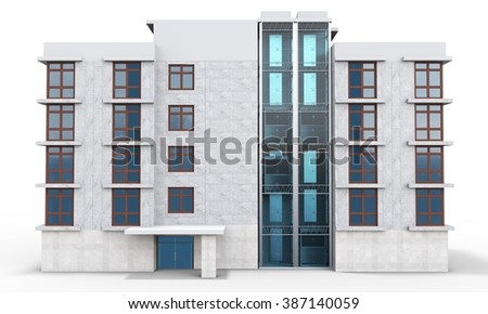 3d contemporary apartment block  on a white background - stock photo