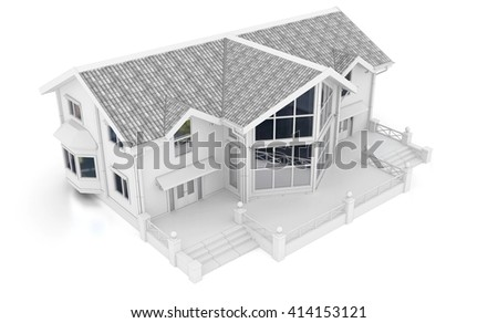 3d contemporary apartment block  on a white background 3D illustration - stock photo