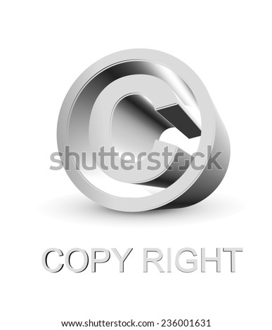 3d Copy right symbol on white background - stock photo