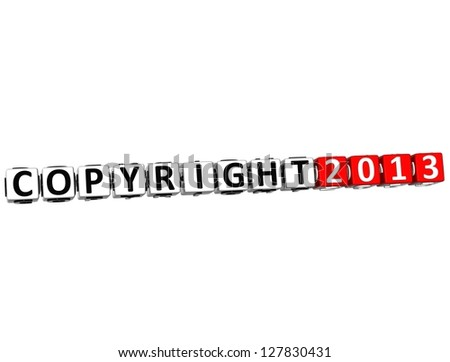 3D Copyright Right Crossword on white background - stock photo