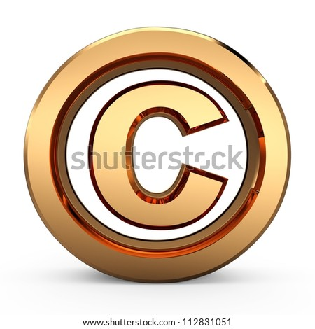 3D Copyright symbol - stock photo