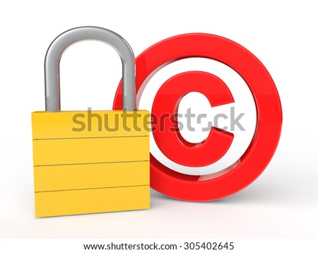 3d copyright symbol and lock - stock photo