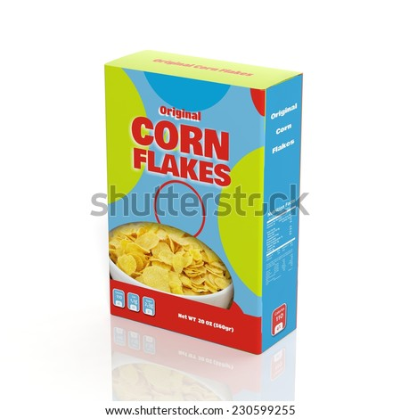 3D Corn Flakes paper package isolated on white - stock photo