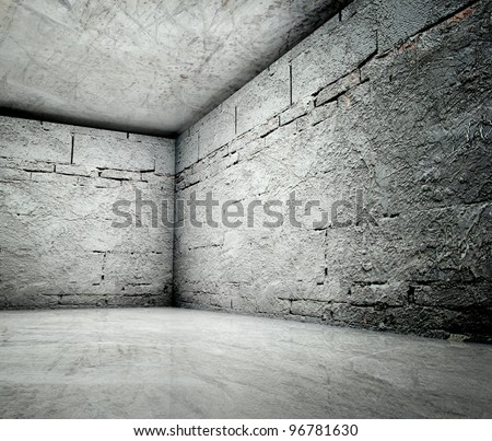 3d corner in concrete brick interior - stock photo