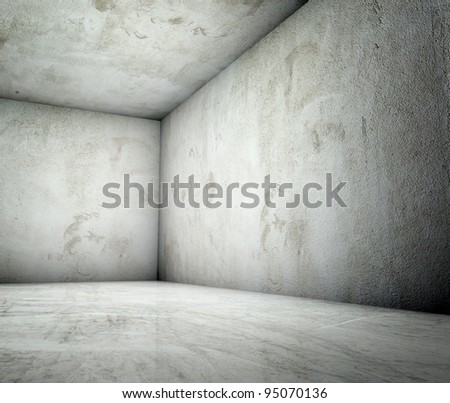 3d corner in concrete plastered interior - stock photo