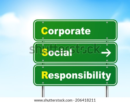 3d corporate social responsibility road sign isolated on blue background - stock photo