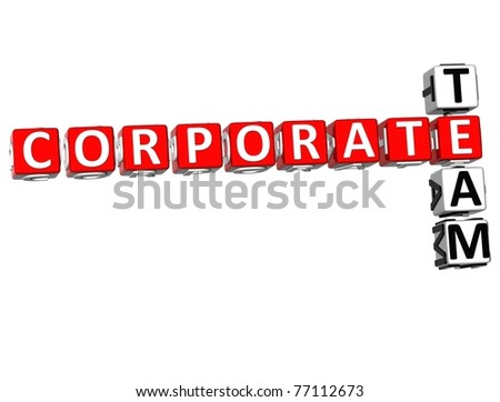 3D Corporate Team Crossword on white background