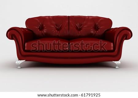 3d couch, studio render - stock photo