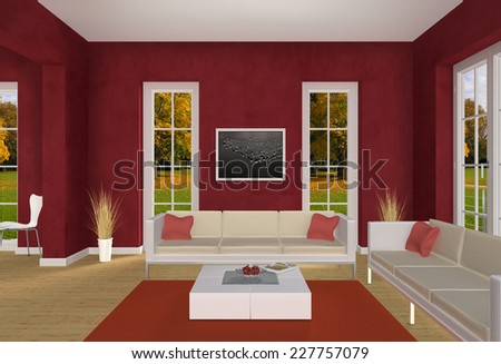 3D country style living room interior rendering - stock photo