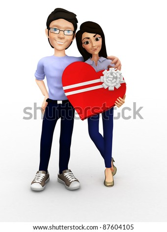 3D couple celebrating their anniversary holding a box in the shape of a heart - isolated - stock photo