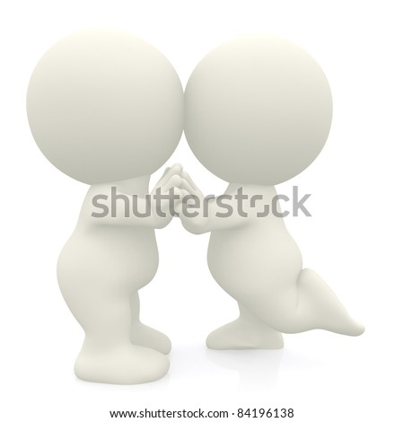 3D couple dancing and kissing - isolated over a white background