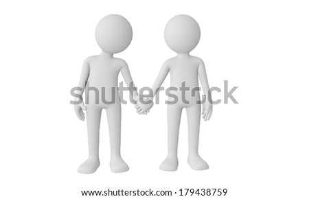 3D couple holding hands