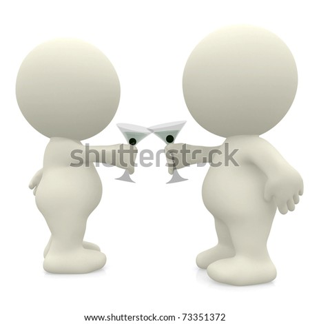 3D couple making a toast with martinis - isolated - stock photo