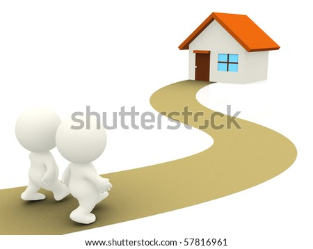 3D Couple walking towards home - isolated over a white background - stock photo