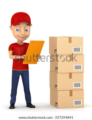 3d Courier with a clipboard and boxes on a white background - stock photo