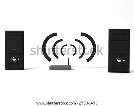 3d cpu with hub on a white background - stock photo