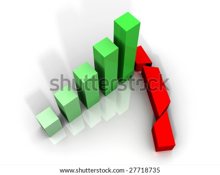 3D Crashed Graph - stock photo
