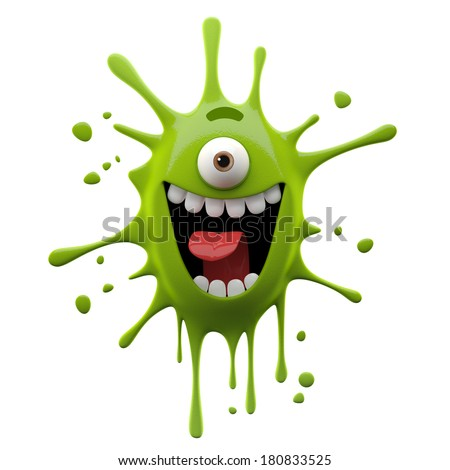 3d crazy monster one eyed humorous advertising supplement isolated