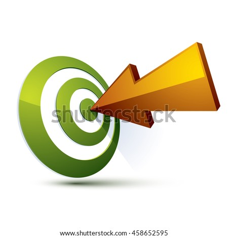 3d creative symbol with arrow aiming at target. Business objective conceptual sign. - stock photo