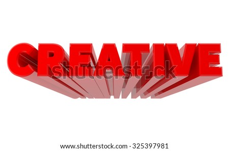 3D CREATIVE word on white background 3d rendering - stock photo