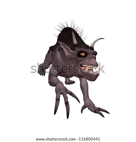 3D Creature isolated on a white background - stock photo