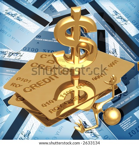 3D Credit Card Concept Crushed Under Debt Dollar - stock photo