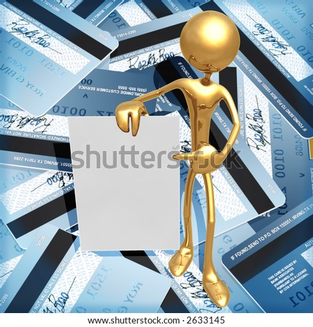 3D Credit Card Concept Holding A Blank Message Card - stock photo