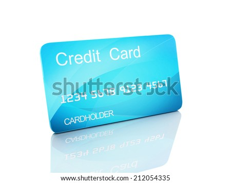 3d credit cart on white background
