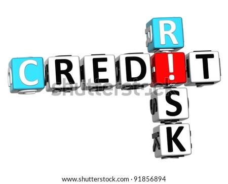3D Credit Risk Crossword on white background - stock photo