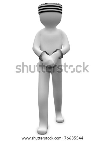 3D criminal man in handcuffs with a jail cap - stock photo