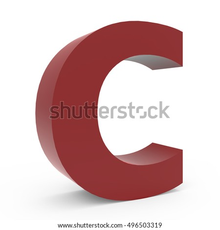 3d crimson left leaning font C, 3D rendering graphic isolated white background
