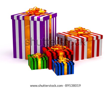 3D Cristmas gifts on the white - stock photo