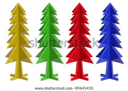 3d Cristmas tree on white - stock photo