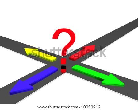 3d crossroad - stock photo