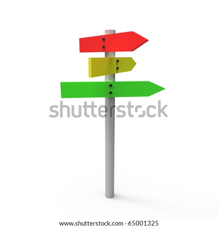 3D  crossroad sign  isolated on white - stock photo