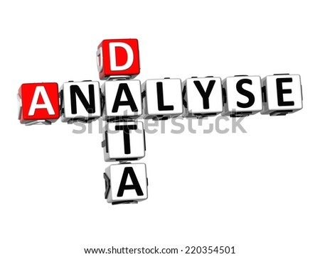 3D Crossword Analyse Data on white background - stock photo