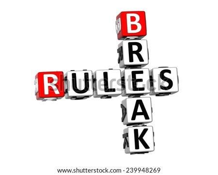 3D Crossword Break Rules on white background  - stock photo