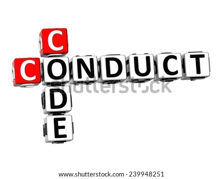 3D Crossword  Conduct Code  on white background  - stock photo