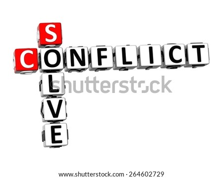 3D Crossword Conflict Solve on white background - stock photo