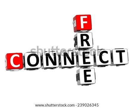 3D Crossword Connect Free on white background  - stock photo