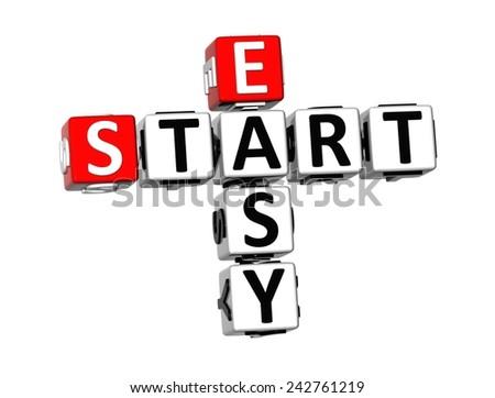 3D Crossword Easy Start on white background  - stock photo